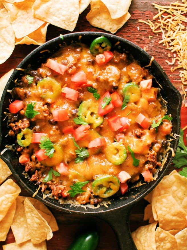 Everything you love about a taco, but in dip form! This taco dip Perfect for Cinco De Mayo!
