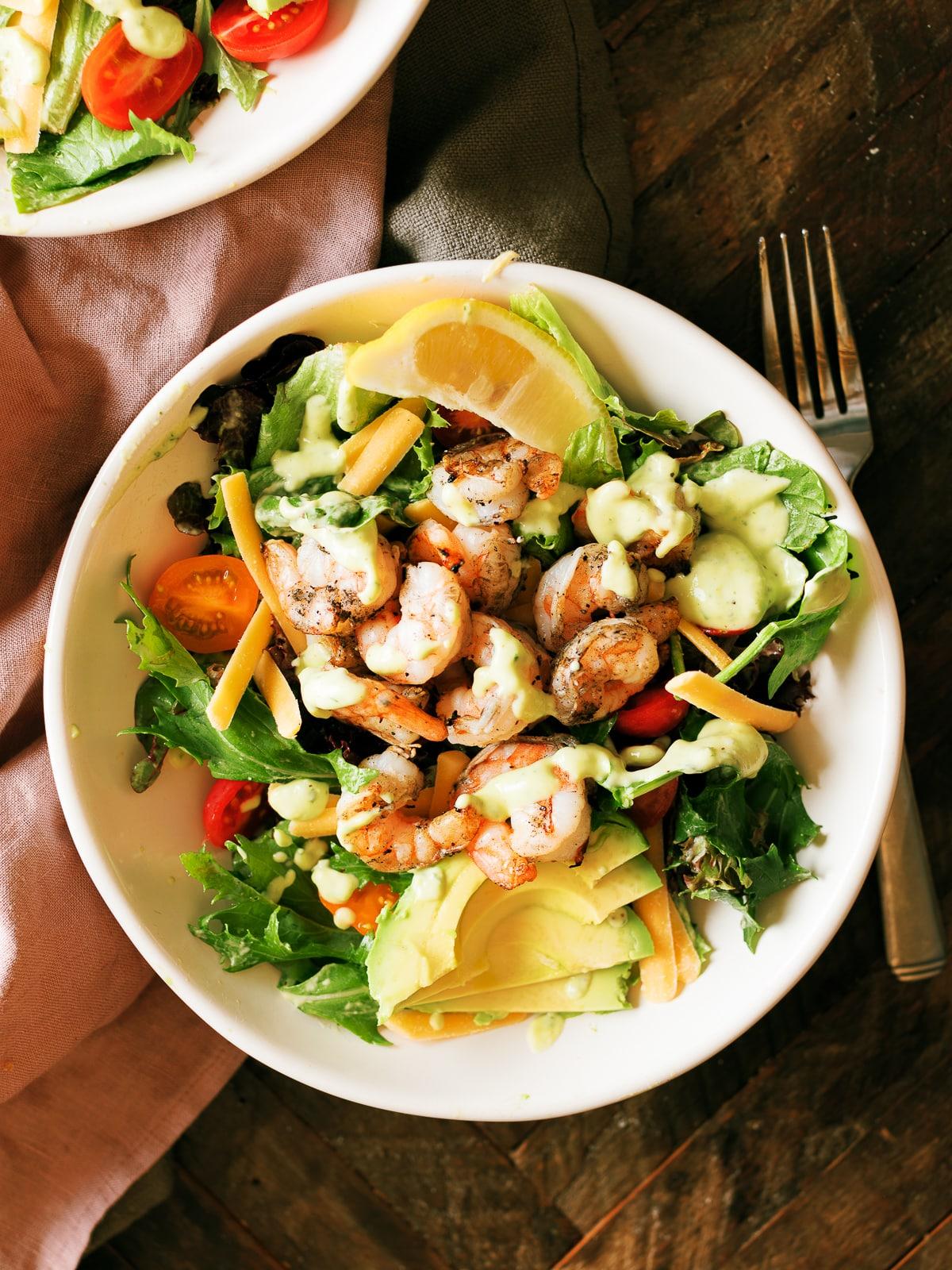 Grilled Shrimp Salad with Citrus Avocado Dressing