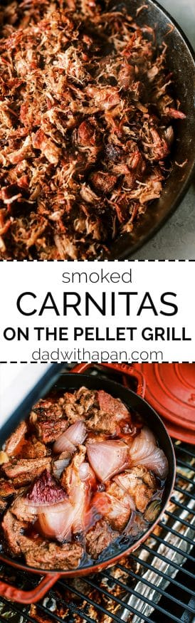 Smoked carnitas is Pork shoulder smoked with hickory wood pellets, then braised in a mixture of fresh squeezed oranges, onion, garlic, and mexican seasoning