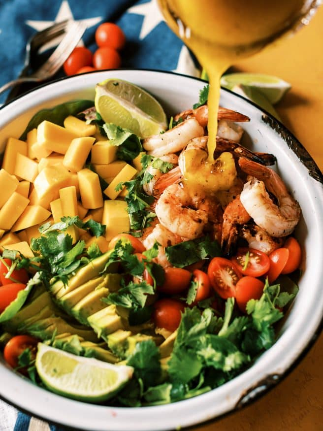 Grilled Shrimp Mango and Avocado Salad with a honey mustard vinaigrette. Doesn't get easier than that for summer dinner!