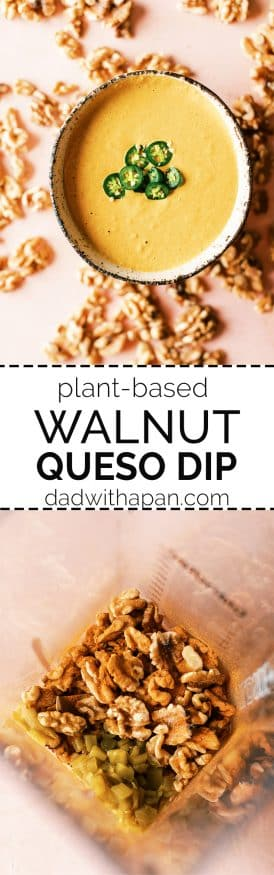 This Walnut Queso Dip is a light and healthy way to get your snacking on! It's a great alternative to standard queso dip, plus it's got a beautiful creaminess to it.