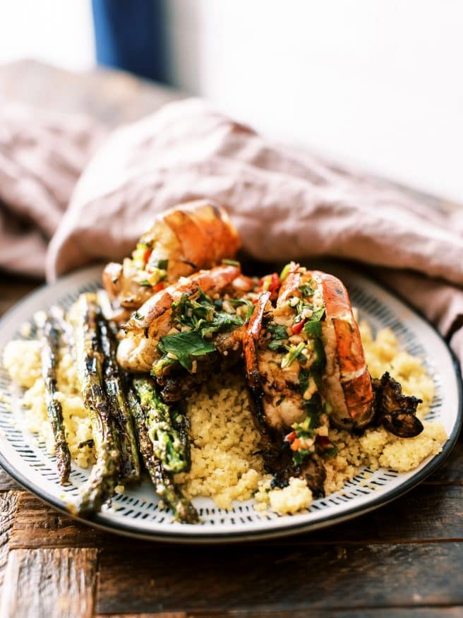 This Garlic and Herb Grilled Shrimp recipe uses MASSIVE Shrimp. It's got texture of lobster, loaded with garlic, Serrano peppers, and is amazing!