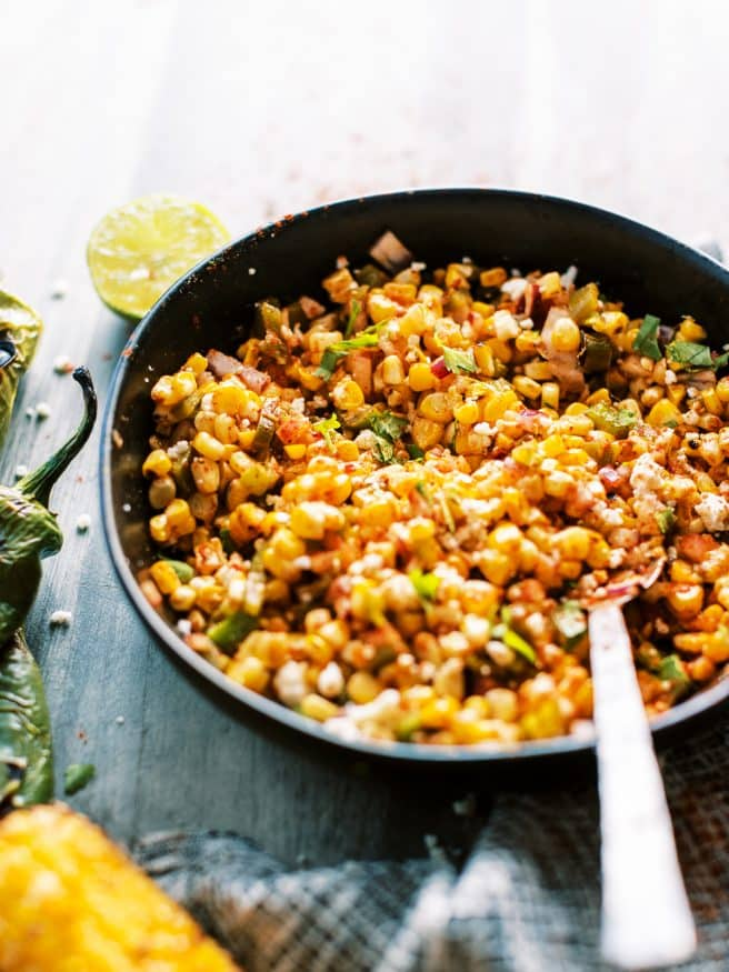 Esquites with Hatch Chiles, is spicy, zesty and so addicting! It's easily becoming my favorite lunch time meal, and makes a better dinner time side!