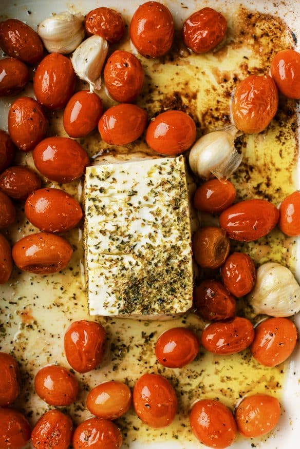 Feta cheese, tomatoes and garlic are baked, then mashed together to make this creamy sauce, then paste and fresh basil is added.