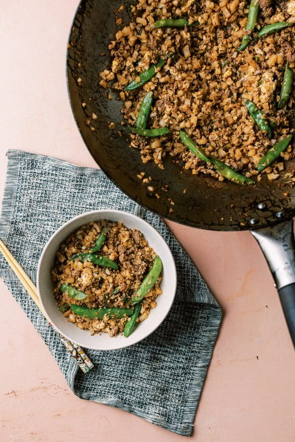 Cauliflower fried rice with beef is a great low carb, high protein keto friendly meal that will get your fried rice fix in!