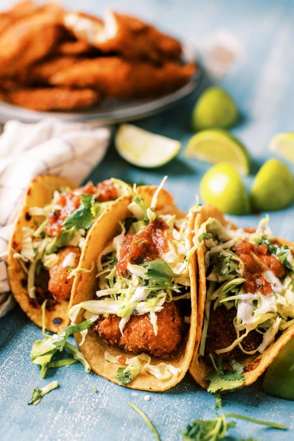 Instant Mashed Potato Crusted Fish Tacos are a must try! Using instant mashed potatoes as a breading for fish tacos, then fried to come out for a super crispy on the outside, tender and flakey on the inside!