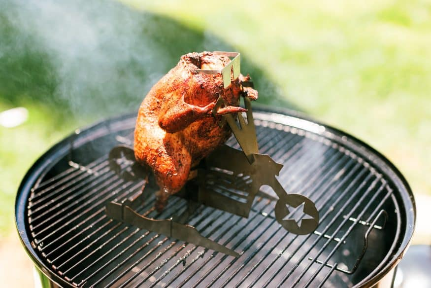 Smokey, fall-apart-tender, and a juicy, this taco seasoned beer can chicken, is great on its, own, or for taco night!